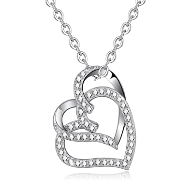 Fashion Jewelry Fashion Necklaces & Pendants Jewelry 925 Sterling Silver Love Heart CZ Pendant Necklace Chain For Women Lady