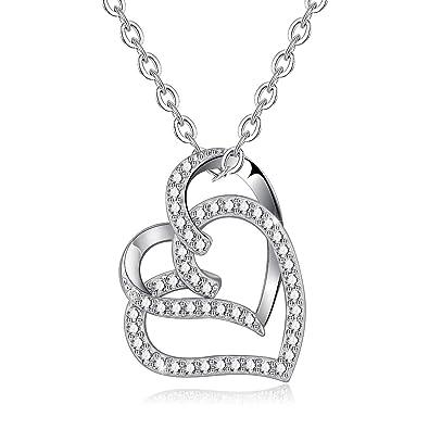 e2d08da89db1 INFUSEU Colgante del corazón del Amor de Plata de Ley 925 con Cadena de 18  Pulgadas Collar Joyas de circonio cúbico para Mujeres