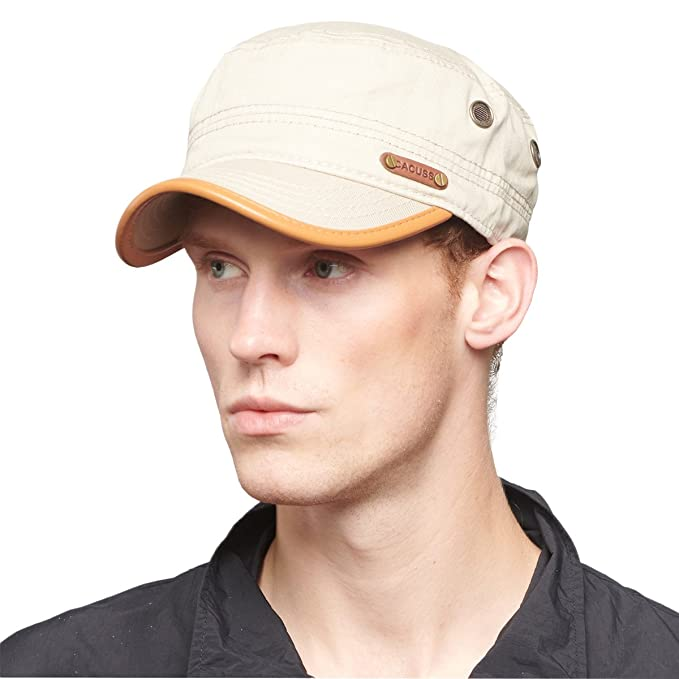 46fb75f72a1 CACUSS Men s Cotton Army Cap Cadet Hat Military Flat Top Adjustable  Baseball Cap(Beige)