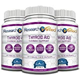 Research Verified Thyroid Aid - With Iodine, Vitamin B12, Selenium, Coleus Forskholii, Kelp, Ashwaghnada & More - 100% Pure, No Additives or Fillers - 100% Money Back Guarantee - 3 Months Supply