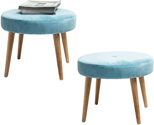 TINA S HOME 2 Pack Upholstered Velvet Round Ottoman with Rubber Wood Legs – Blue