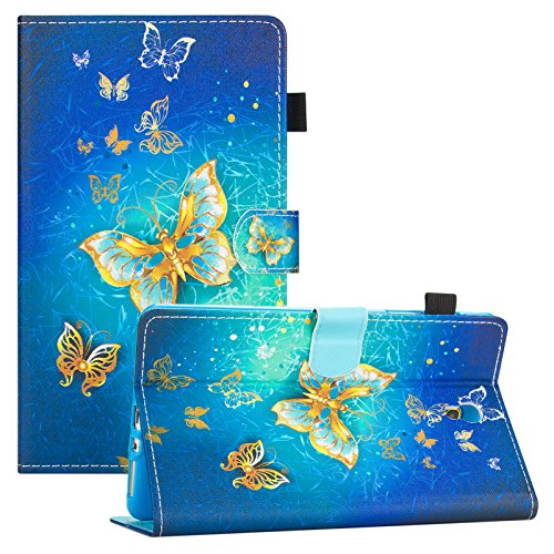 Galaxy Tab S 8.4 Case, Dteck Slim Fit PU Leather Folio Stand Wallet Case with [Stylus Slot] Protective Cover for Samsung Galaxy Tab S 8.4 inch Tablet 2014 (SM-T700/SM-T705), Gold Butterfly