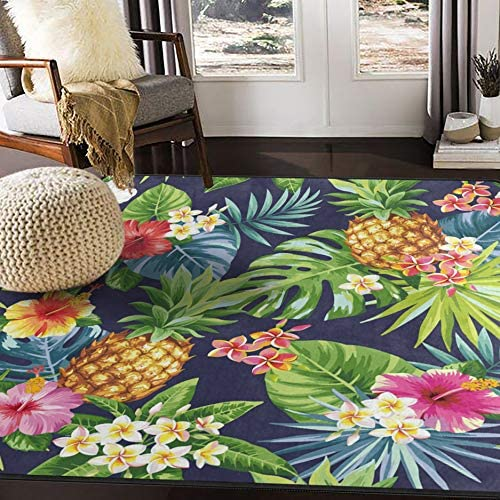 ALAZA Tropical Summer Flower Pineapple Palm Tree Leaves Area Rug Rugs for Living Room Bedroom 7 x 5