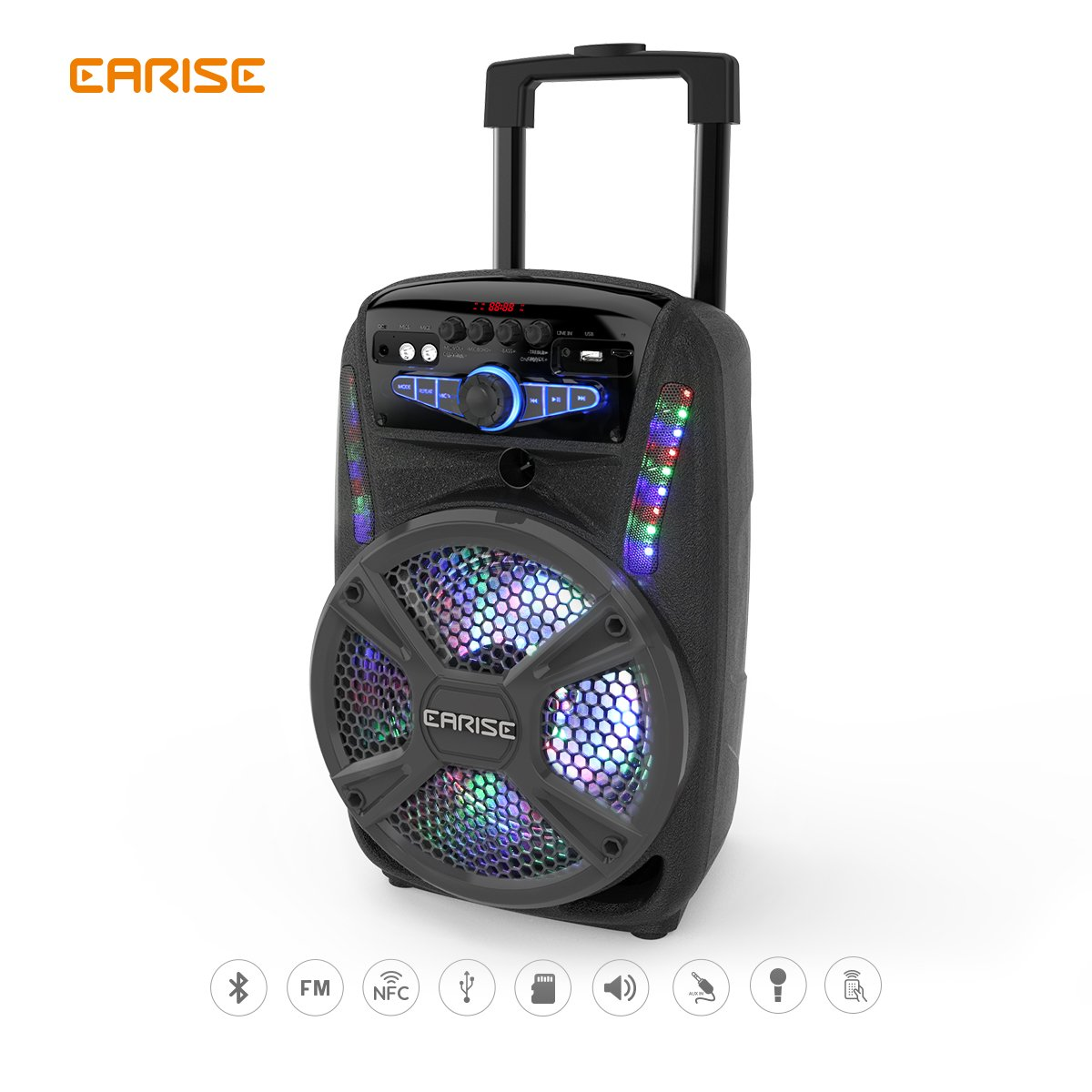 """EARISE V15-D/V16-D Audio Bluetooth PA System Portable Rechargeable Speaker with Wireless Microphone, Remote Control, FM Radio, AUX/TF/USB/NFC, Trolley Design 8"""" /12"""" (V16-D)"""