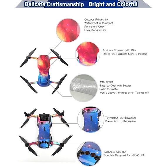 Zantec Adhesivas a prueba de agua de PVC resistente a los rasguños del grano de aluminio Etiquetas de la piel para DJI MAVIC AIR (conjunto de cuerpo ...