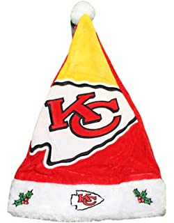 c1ce7f1a2 Forever Collectibles Kansas City Chiefs 2018 NFL Basic Logo Plush Christmas  Santa Hat