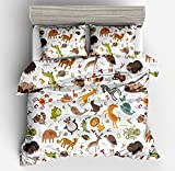 Jwllking LIL'ANIMALS Bedding Sets for Kids,3 Piece Twin Size Duvet Cover Set,With hide Zipper,1 Duvet Cover+2 Pillow Shams