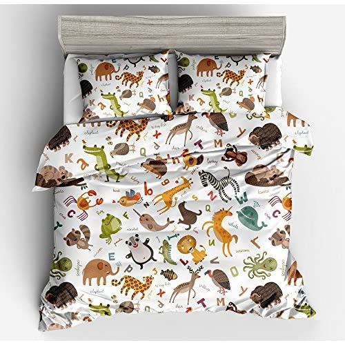 Jwellking LIL'ANIMALS Bedding Sets for Kids,3 Piece Full Size Duvet Cover Set,With hide Zipper,1 Duvet Cover+2 Pillow Shams hot sale