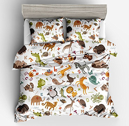 Jwllking LIL'ANIMALS Bedding Sets for Kids,3 Piece Twin Size Duvet Cover Set,With hide Zipper,1 Duvet Cover+2 Pillow Shams by Jwellking