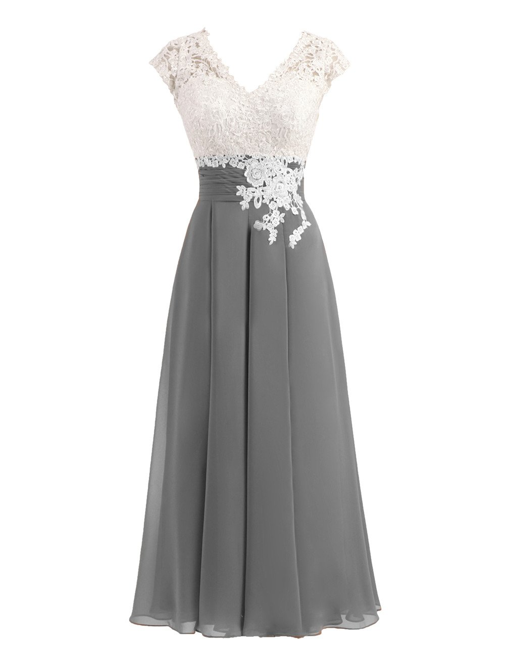 Women's Ivory Lace Top Chiffon Button V-Neck Bridesmaid Dresses with Cap Sleeves Mother of The Bride Dresses (US18W, Dark Grey)