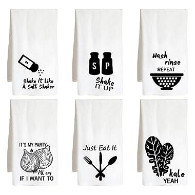 Live Nice Funny Music Themed SIX Pack - Cute Food - Farm Flour Sack Kitchen Tea Towel