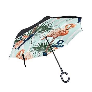 ALAZA La Prueba de Doble Capa Paraguas invertido Coches inversa Paraguas a Prueba de Viento de