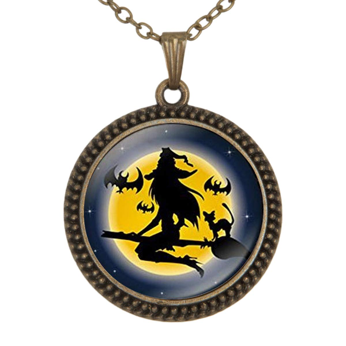 Lightrain Halloween Flying Witch Pendant Necklace Vintage Bronze Chain Statement Necklace Handmade Jewelry Gifts