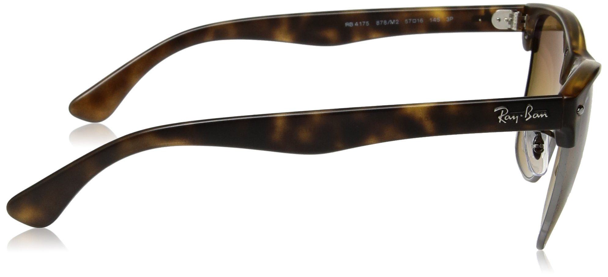 Ray-Ban Men's Clubmaster Oversized Polarized Square Sunglasses, Demi Gloss Havana, 57 mm by Ray-Ban (Image #3)