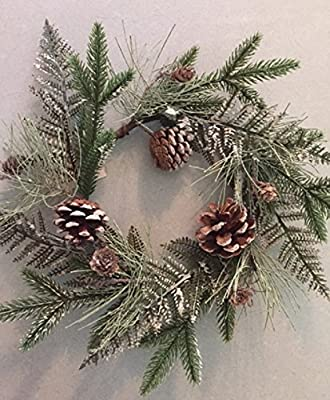 Wispy Frosted Fern and Pine Cone Winter Holiday Candle Ring Wreath 13 Inches Handmade With Lightly Flocked Artificial Greens And Pine Cones Winter Centerpiece Candle Not Included