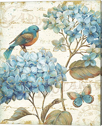 Blue Garden II by Daphne Brissonnet Canvas Art Wall Picture, Gallery Wrap, 16 x 20 inches