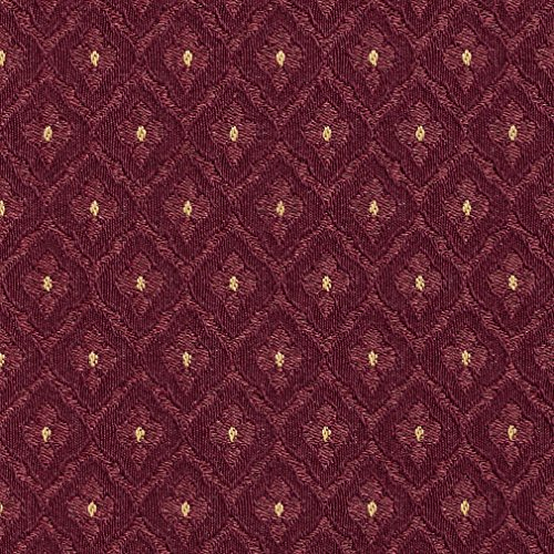 (A474 Burgundy and Gold Diamonds Upholstery Fabric by The Yard)