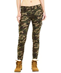 Nina Carter Slim Skinny Stretch Camouflage Combat Trousers Cargos - Dark Green (4)