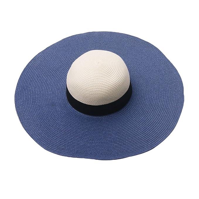 d8693946a471f Kairuun Damen Stroh Hut Groß Krempe Uv Schutz Sonnenschutz Sommer für  Outdoor-Aktivitäten Sonnenhut
