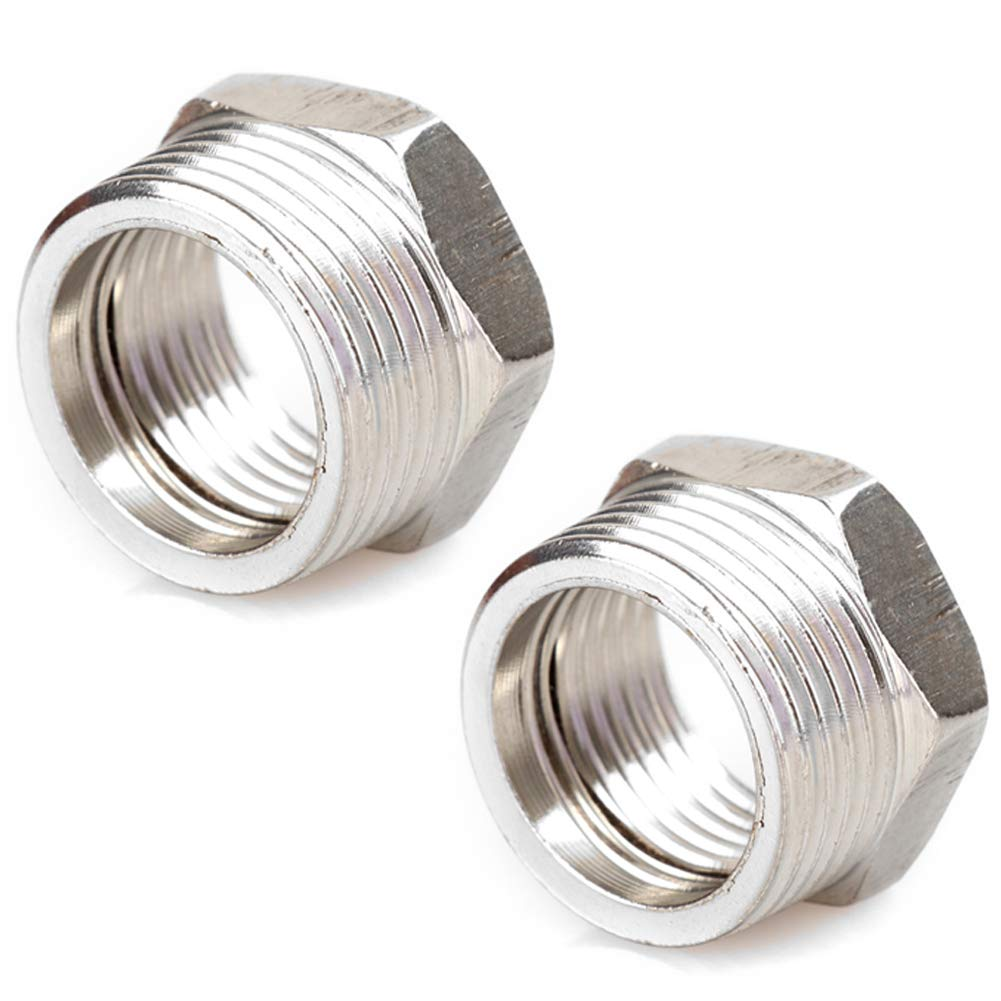 "Joywayus Stainless Steel Hex Head Bushing Reducer Pipe Fitting 3/4"" NPT Male × 1/2"" NPT Female(Pack of 2)"