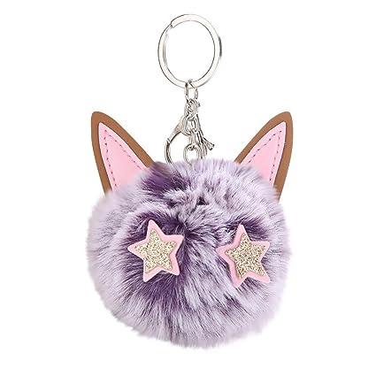 Gbell Pom Pom Balls Keychains-Fluffy Cute Kitten Cat Pompom Puffy Ball Key  Chains Bag 4543c3301b