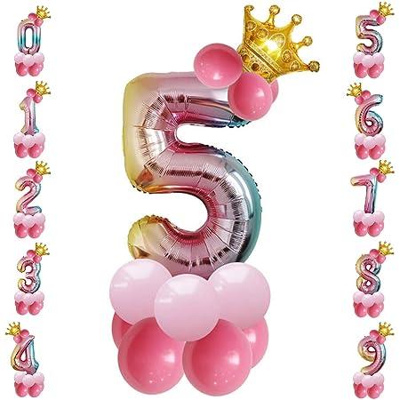 Tianhaik - Globo Gigante de Aluminio con números inflados con Purpurina para Fiestas de cumpleaños, decoración del hogar, Suministros de Fiesta, 5, 32 ...