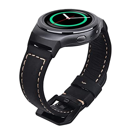 Vigoss Compatible Gear S2 Band Leather, Premium Vintage Crazy Horse Genuine Leather S2 Bands with Black Stainless Steel Buckle Strap Replacement ...