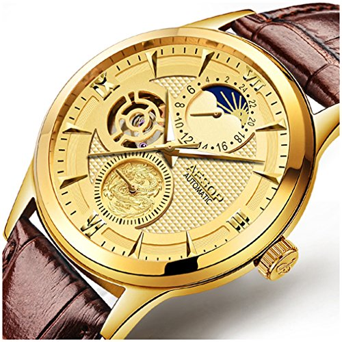 (Mens Watches Business Hollow Moon Phase Automatic Mechanical Men Waterproof Gold Plated Two Tone Stainless Steel Wrist Watch (Brown Leather Strap with Gold Dial))