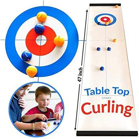 Amily Diversión Juegos De Mesa De Tejo, Ztable Top Curling Juego De Mesa De Calidad Curling Juego-Compacto Curling Juego De Mesa Mini Juegos De Mesa para Viajan Escuela De La Familia Juego: