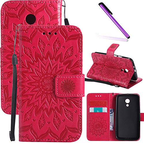 Motorola Moto G2 Case LEECOCO Embossed Floral Wallet Case with Card Cash Holder Slots Wrist Strap [Kickstand] PU Leather Flip Slim Case Cover for Motorola Moto G (2nd Generation) Mandala Red (Motorola G Cover 2nd Generation)