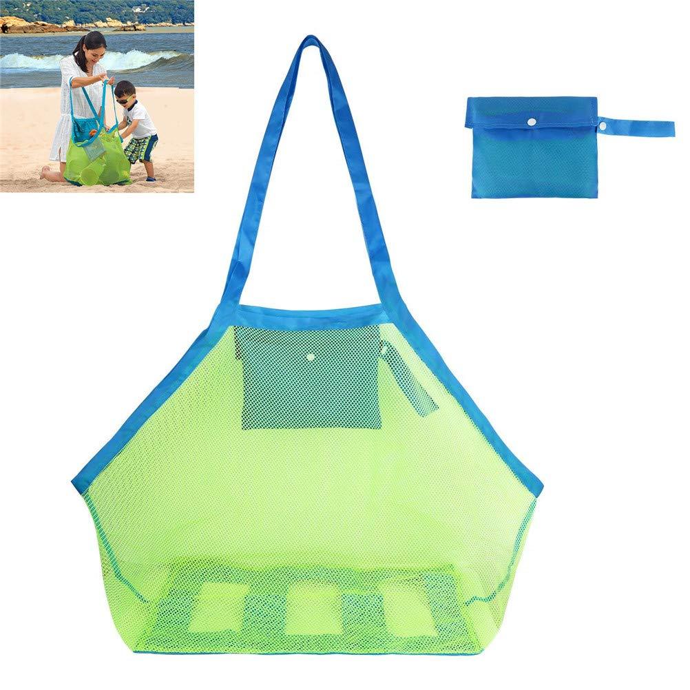 Qincling Mesh Beach Bag, Extra Large Portable Mesh Toy Tote Bag Sand Away Beach Bags Totes Toys, Beach Towels, Shells