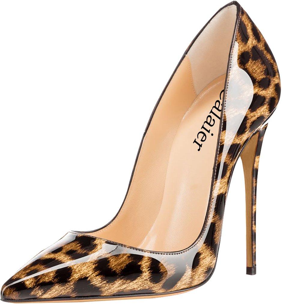 Calaier Mujer Cahen Tacón De Aguja 12CM Sintético Ponerse Zapatos de Tacón 43 EU|Varios colores