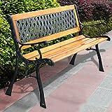 49 1/2'' Patio, Park, Garden, Bench, Porch, Path Chair, Outdoor Deck, Cast Iron, Hardwood