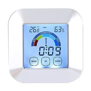 Termómetro Higrómetro Digital Interior, Reloj Digital con 3 Teclas Táctiles de Alta Sensibilidad Monitor de Humedad Temperatura para Habitación, Oficina, ...