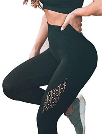 c53ae4ed63793 Women's High Waist Active Energy Leggings Slimming Seamless Compression Fit  Pants Workout Tights Tummy Control S