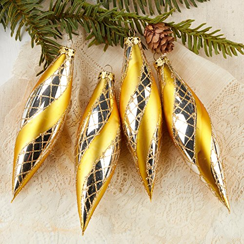 Factory Direct Craft Gold Glitter Teardrop Ornaments for Tree Trim and Christmas Decor - 12 Ornaments