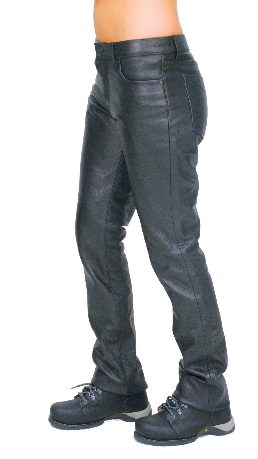 Jamin' Leather Women's Mid-Rise Premium Cowhide Leather Pants (12) #LP711K