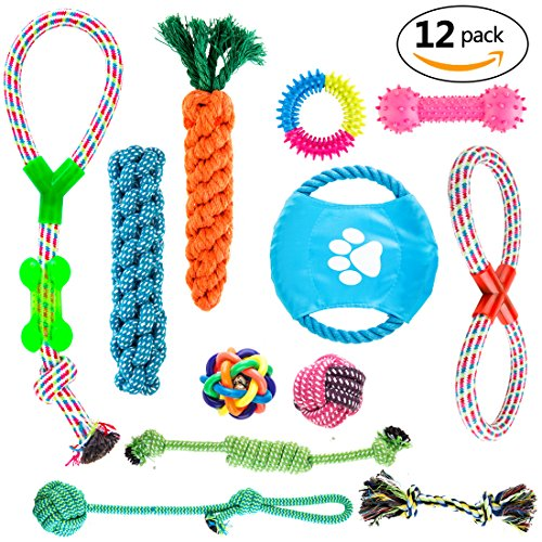 Yoangda 12 Pack Dog Rope Toys Dog Teething Toys Durable Puppy Chew Toys Value Pack Assortment for Small to Medium dogs Teething Puppy