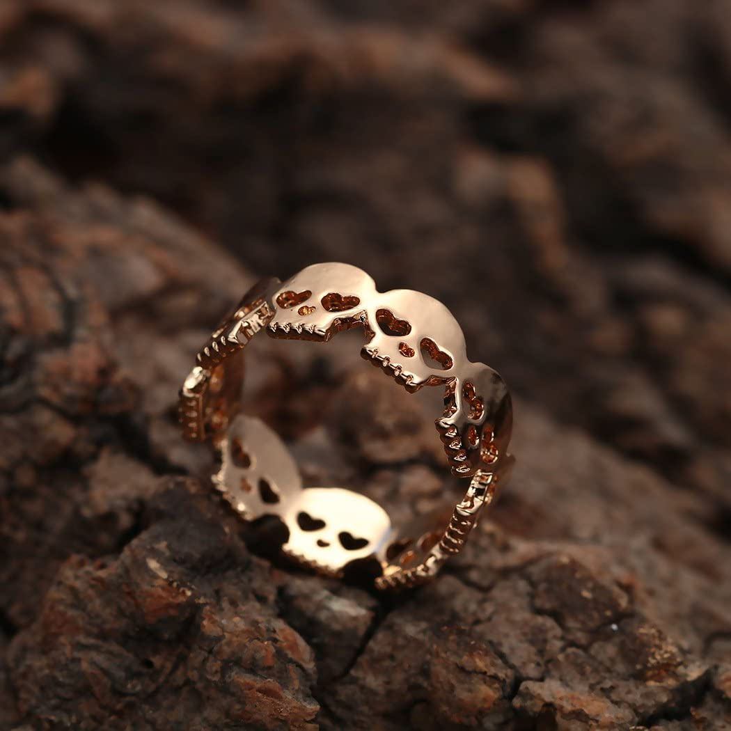 MLJB Gold Plated 14k /& Sterling Silver Plated Hollow Heart Eyes Skeleton Skull Charm Band Ring