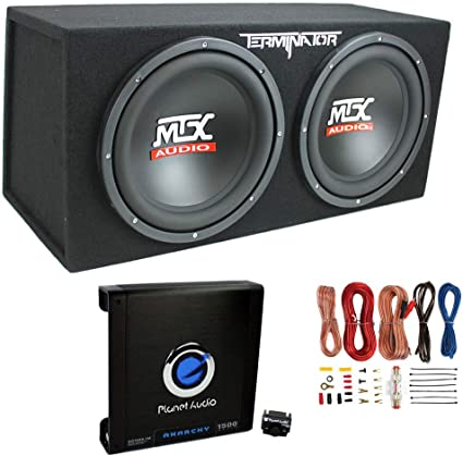 "MTX Audio 12/"" Dual Terminator Car Audio Subwoofer Package+Amplifier+Amp Kit"