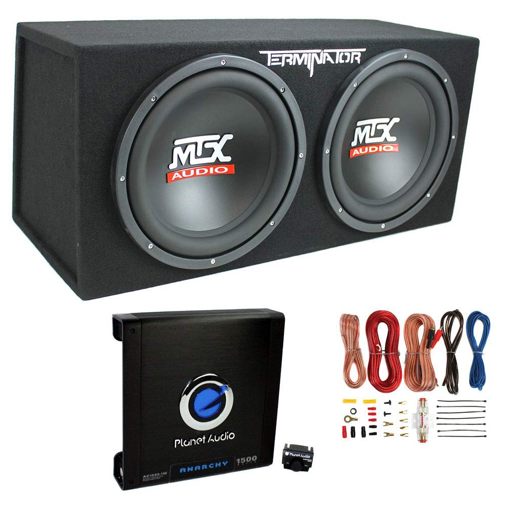 MTX TNE212D 12'' 1200W Dual Loaded Car Subwoofers + Box + Planet 1500W Amp + Kit