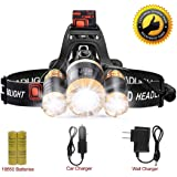LETOUR LED Headlamp Cree T6 Headlamps Zoom 4 Brightness 8000 Lumens 500Meters Lighting Rechargeable Headlight Waterproof Running Lights Camping Lights,Golden