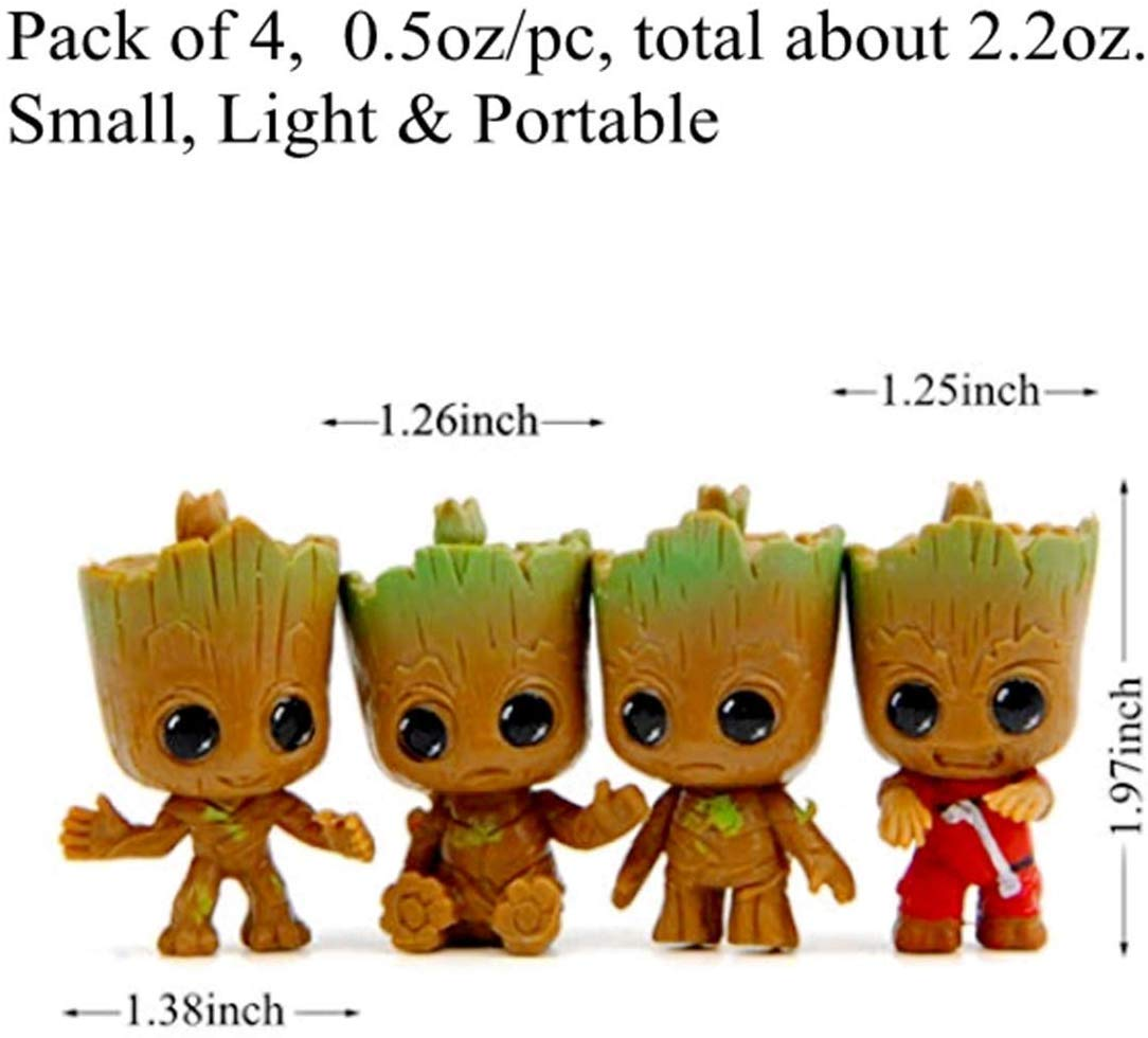 4 Pack Cute Baby Groot Keychains Anime Guardians of The Galaxy Q Version Action Figure Accessories Best Toy Gifts for Women Couple Children Festival