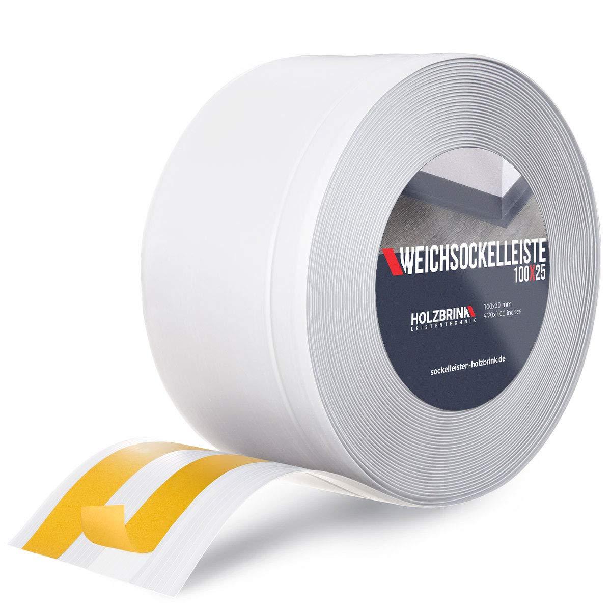 HOLZBRINK Perfil de Suelo Autoadhesivo Suave Blanco Pre Cortado Cinta PVC, 100x25 mm, 5 m