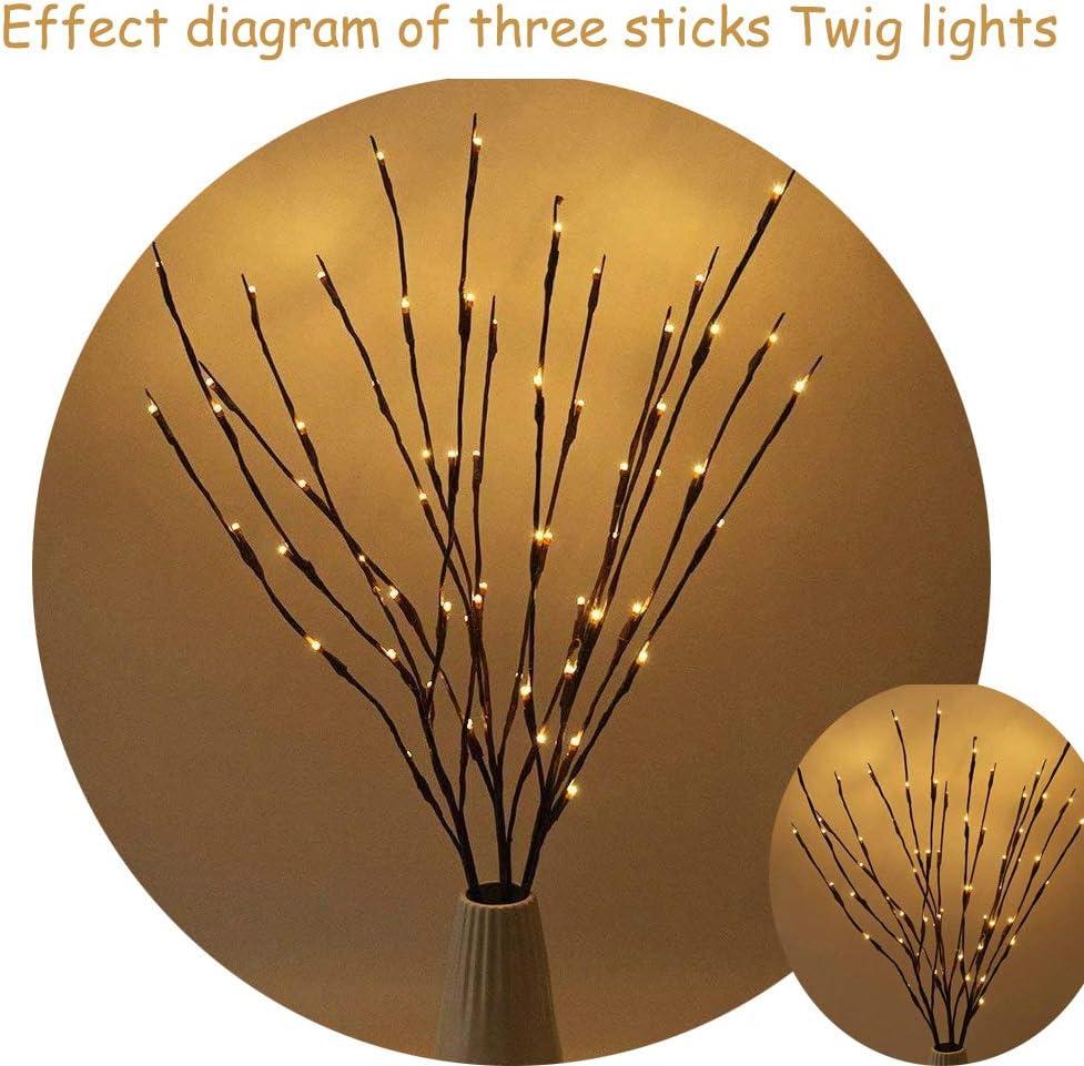 Muxan Lumi/ère de Branche darbre Cr/éative 20 LEDs chaque Branche /Éclairage d/écoratif /à LED pour No/ël Maison Vacances Mariages Anniversaire Nouvel An F/ête Blanc, 1