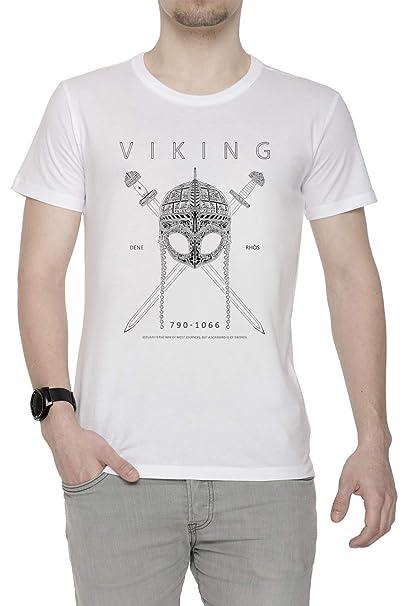 Erido Vikingo Diseño Hombre Camiseta Cuello Redondo Blanco Manga Corta Todos Los Tamaños Mens White T-Shirt: Amazon.es: Ropa y accesorios