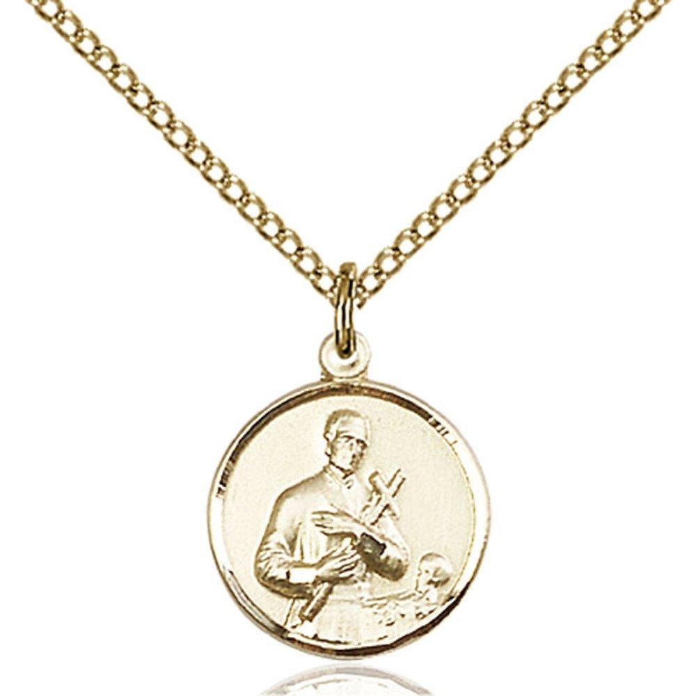 Bonyak Jewelry 金張り 聖ジェラルド ペンダント 5/8インチ x 1/2インチ 金張りライトカーブチェーン   B00P5O1FLY
