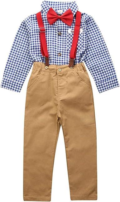 Traje para Niño Formal 3 Piezas 1 Camisa Mangas Largas Cuadros + 1 Pantalones con Tirantes Beige + 1 Pajarita Roja Escolar, Casual, etc: Amazon.es: Ropa y accesorios