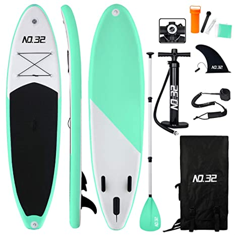 Tabla Hinchable de Paddle Surf + SUP Paddle Remo de Ajustable | Bomba | Mochila | Aleta Central Desprendible | Kit de Reparación | Vela de Viento y ...