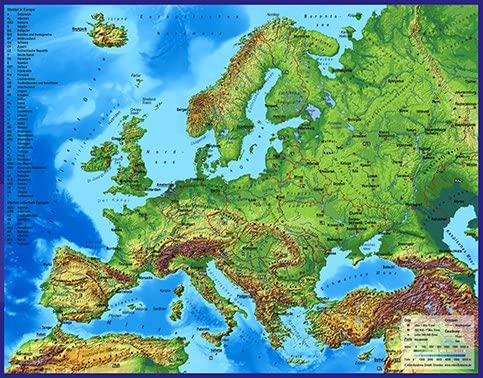 3d Landkarte Europa Mit Stadten 60 X 47 Cm Karte Amazon De